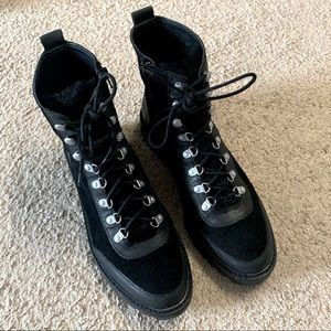 Lucky Brand Black Leather Lace Up Boots